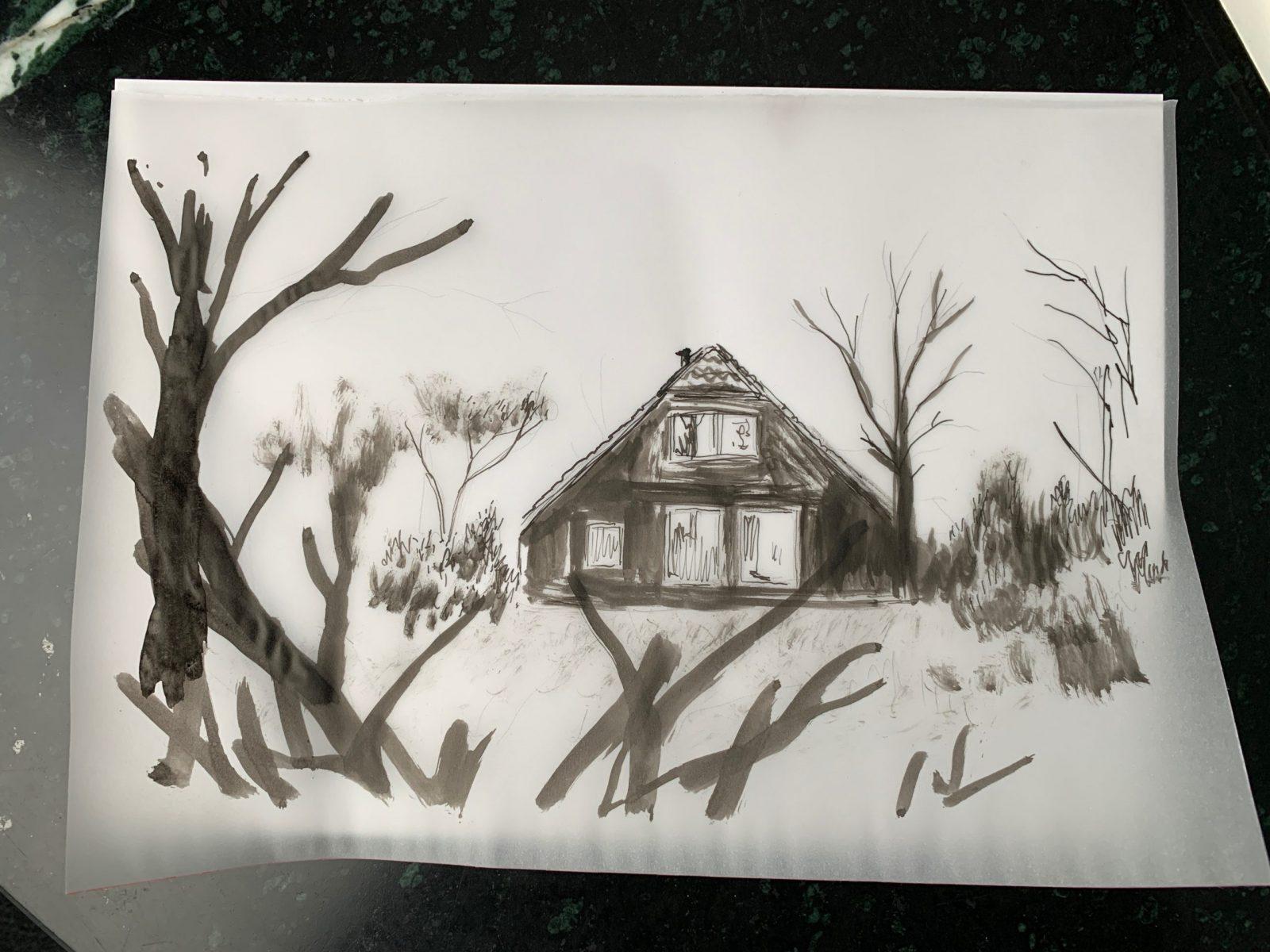 Sketch of hiding place in Ackterveld, Gilad Seliktar